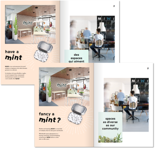 have a mint page spread – Real estate translation for Mint's fresh new workspace