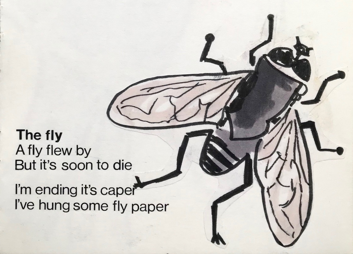 Illustration of a fly next to the text 'The fly / A fly went by / But it's soon to die / I'm ending its caper / I've hung some fly paper'