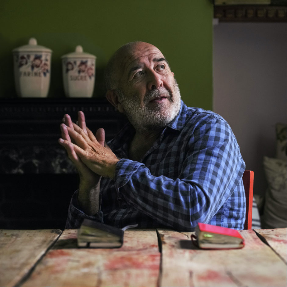 Martin Galton sitting across a table