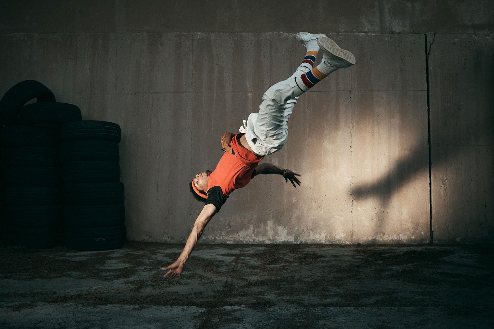 a breakdancer in midair